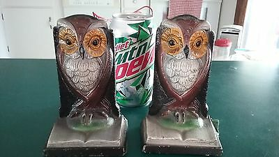 VTG mid century  Owl Bookends Heavy Metal Book Reading Books Black Base Pair