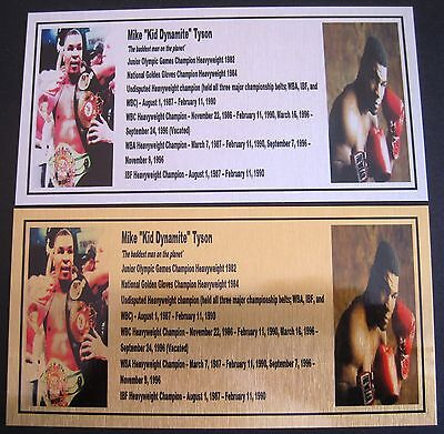 Boxing MIKE TYSON  Gold or Silver Plaque 155x80mm SPECIAL