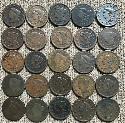 25 Large Cents - mixed dates and grades - Lot 1