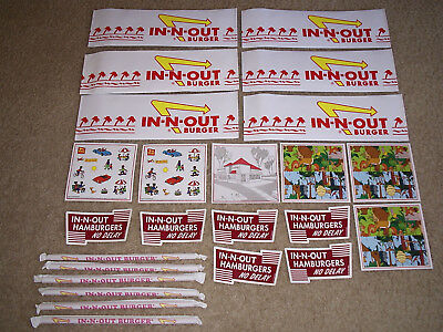 IN-N-OUT Burger LOT of 6 Paper Hats - Stickers - Bumper Stickers And Straws -New