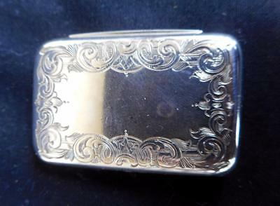c.1890's Antique Solid Silver Asprey London Ornate Engraved Snuff Pill Box
