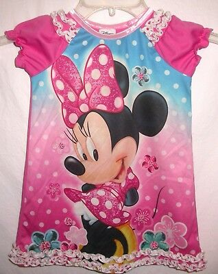 DISNEY MINNIE MOUSE Girl's Toddlers Nightgown with Ruffles Size 2T Adorable!