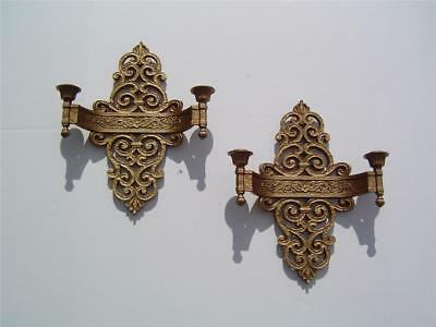 Pair Dart Ind Syroco Antique Gold Double Candle Holder 2 Arm Sconces # 4070 USA
