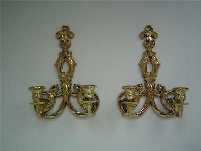 2 Vtg Ornate Gold~Double~2 Arm~Wall Sconces~Burwood SyrocoType~Hollywood Regency