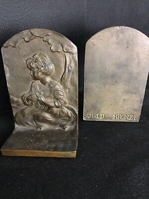Vintage Pair of Solid Bronze Book Ends