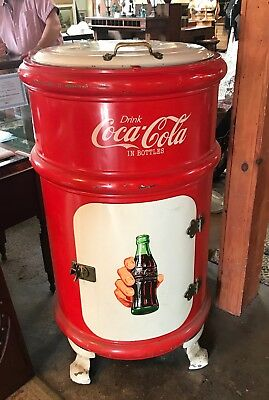 Antique 1908 Coca Cola Round Icebox Cooler No Reserve!!