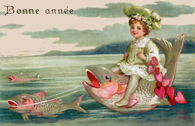 c1900 French New Year~Pretty Girl w Hearts Rides Fish in Ocean~NEW Lg Note Cards