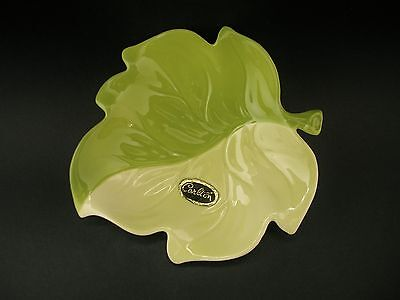 Carlton Ware Two Tone Leaf Vintage Green English China Butter Dish c1950s 12cm