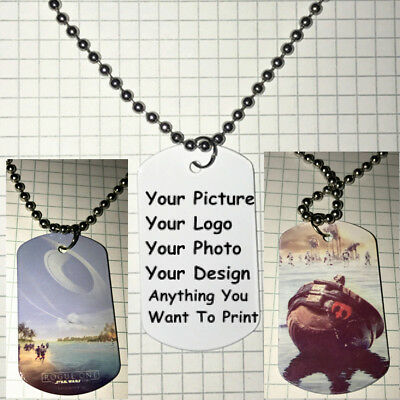 Personalized Custom Picture Double Side Color Printed Dog Tag Necklace Pendant B