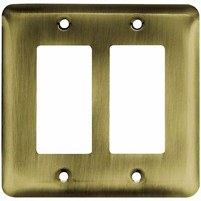 Liberty Stamped Round Decorative Double Rocker Antique Brass Switch Plate Cover