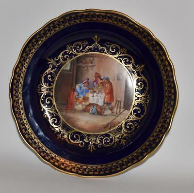 Gilded Meissen  Porcelain Cobalt Cabinet Plate-w/ Gasthaus Painting  -Signed