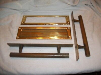 ANTIQUE Vintage hardware large Heavy Solid Brass Door Handle Pulls and mail slot