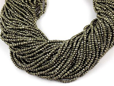 """5 Strand AAA Quality Pyrite Gemstone Faceted Rondelle Shape Beads 2.5-3mm 13"""" L"""