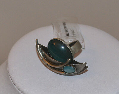 NWT SIGNED POLY MADE IN CANADA MODERNIST abstract RING SILVER BLUE CAB  4-4.5