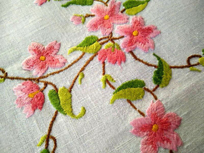 Exceptional Pink Briar Roses ~ Vintage Raised Hand Embroidered Tablecloth