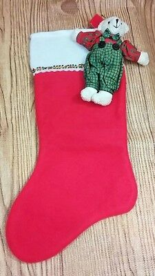 Victorian Style Teddy Bear Christmas Ornament and felt Stocking