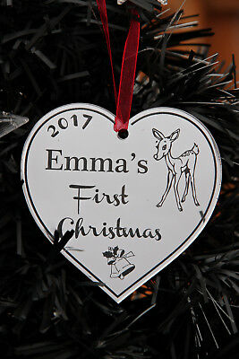 Personalised Cristmas Tree Heart Decoration ' First Christmas'