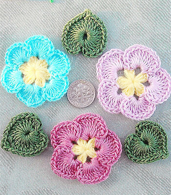 """6 pc Handmade Crochet Flower & Leaf Appliques Pink Turquoise 2"""" FREE SHIP"""