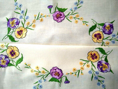 Gorgeous Sweet Pansy/Pansies ~ Vintage Hand Embroidered Tablecloth