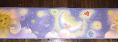 Children's Bedroom Or Nursery Wallpaper Border Boys Or Girl Celestial Sun Moon