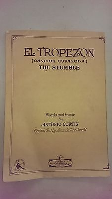 antigua  partitura 1927 El tropezon Antonio Curtis Edicion Chicago
