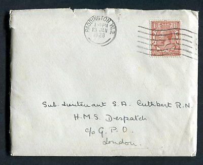 GB cover (entire) from Paddington to HMS Despatch 13JAN28