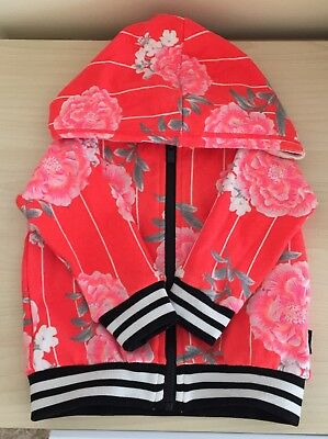 Bonds Baby Size 00 Red Floral Bomber Jacket Hoodie Girls Fashion Winter Spring