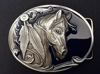 New Western Horse Dark Blue Belt Buckle