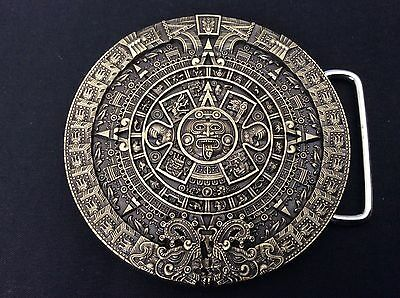 New Aztec Calender Bronze Belt Buckle