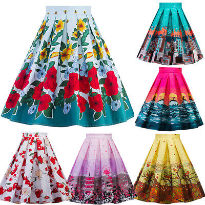 Womens Vintage Retro 50s Rockabilly Work Pin Up Skater Swing Skirt Party Dress