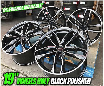"19"" New Rs6 Styled Alloy Wheels Rims Black Polished To Fit Audi A3 A4 A6 Vw Golf"