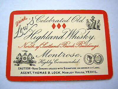 Antique Playing Cards 1 Single Swap Card Wide Lows Highland Whisky Montrose