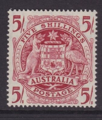 """Australia Pre-Decimal Stamps 1949 5/- Red """"coat Of Arms"""" Mint/muh   (Dh164)"""