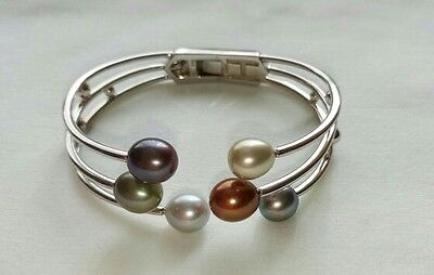 Honora Sterling Silver and Cultured Freshwater Pearl Hinged Bangle/Cuff