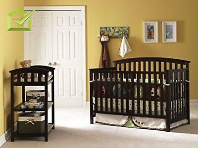 Baby Toddler Convertible Bed 4 in 1 Nursery Fixed Side Crib Espresso Furniture
