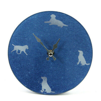 Happy Cat Dog Design Small Blue Glass Wall Clock Time Home Battery Hands