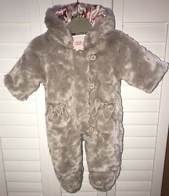 Baker By Ted Baker Girls Snow Suit Faux Fur With Bows 0-3 Months