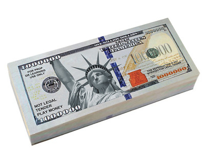 50 Bills of Great looking Million Dollar Play Money Full Rich colors Actual Size