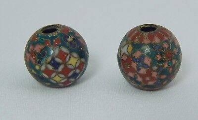 Japanese Old Intricate Cloisonne 2 Beads, Japan Enamel Bead