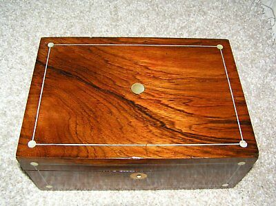 Antique Victorian Rosewood Jewellery/trinket Box With Mop & Working Lock & Key.