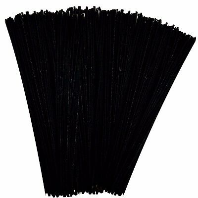 250 Black Pipe Cleaners 30cm x 4mm Chenille Arts and Crafts 12""