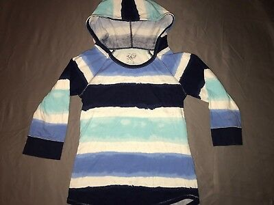 Girls Justice 3/4 Sleeve Hoodie Shirt Blue/Striped Size 10