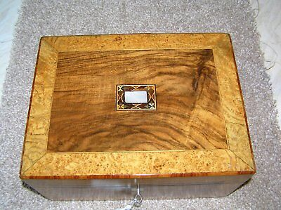 Antique Victorian Rosewood & Burr Walnut Jewellery Box With Mop & Inlay & Key.