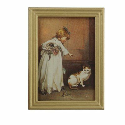 1/12 Resin Frame Girls and Cat Wall Mural Pictures Doll House Miniatures SS