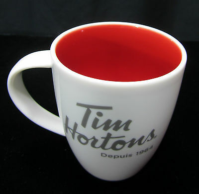 Tim Hortons Limited Edition #014 White Red Inside Coffee Tea Mug