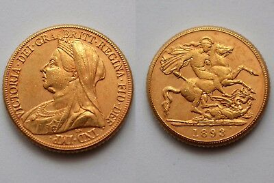 1893 24k GOLD PLATED Victoria Old Head Full Sovereign SOUVENIR NOVELTY COIN