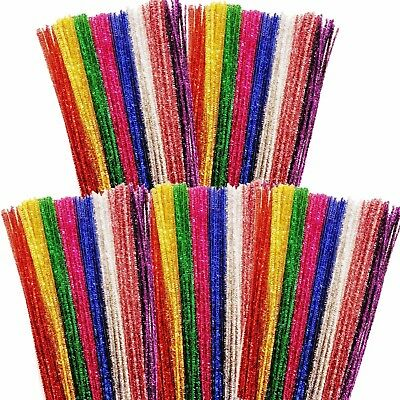 250 Tinsel Pipe Cleaners 300mm Gold Silver Red Blue Green Purple Pink Magenta
