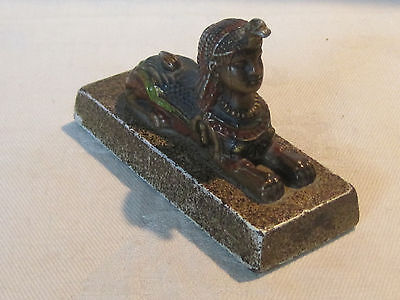 Vintage cold painted bronze Egyptian Sphinx statue figurine