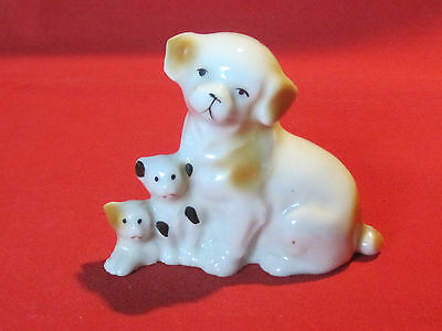 Vintage porcelain mother with 2 puppies figurine, Japan