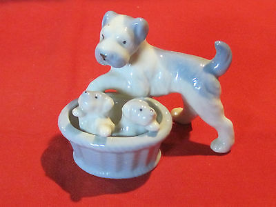Vintage porcelain blue puppy dogs mother & pups in basket, Japan